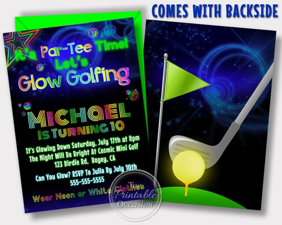 Glow golf invitations glow golf birthday party cosmic golf il570xn filmwisefo