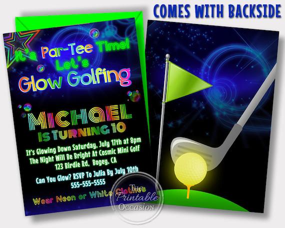 Glow golf invitations glow golf birthday party cosmic golf il570xn filmwisefo Choice Image