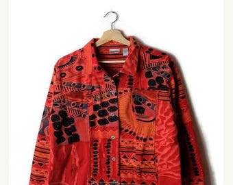 ON SALE Vintage Colorful Abstract Cotton Jacket  from 90's*
