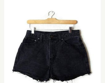 ON SALE Vintage Jordache Black Denim cut off Shorts from 90's/W28*