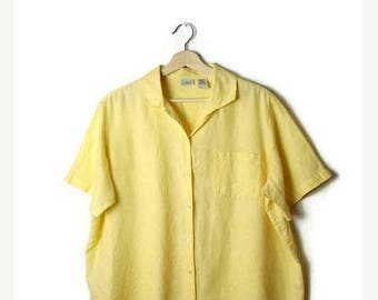 ON SALE Vintage Oversized Pale Yellow Linen  Short sleeve Blouse from 90's/L.L.Bean*