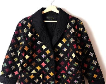 Vintage Black x Multi Color/pattern Quilted Cotton Jacket  from 90's*