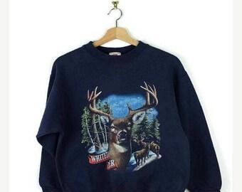 WINTER SALE 20% OFF Vintage Deer Printed Navy Sweatshirt/Wild life sweatshirt  from 90's
