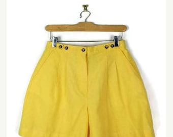 ON SALE Vintage Yellow High waisted Flare Shorts from 80's/W25-29