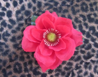 Small Red Hair Flower Clip-Wedding / Pinup / Rockabilly Hair Accessory