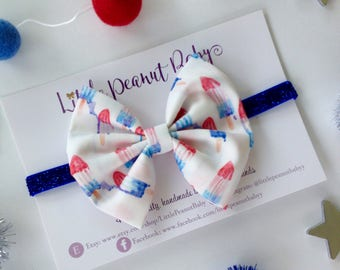 Bomb Pop Fabric Bow - fourth of july bow - red white and blue bow