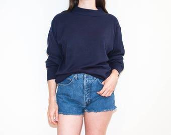 90s dark purple blue mock neck knit / lightweight pullover sweater / size L