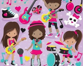 80% OFF SALE Rock star girls clipart commercial use, valentine vector graphics, monster digital clip art, digital images - CL809