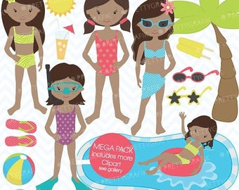 80% OFF SALE pool party clipart commercial use, vector graphics, digital clip art, digital images - CL454