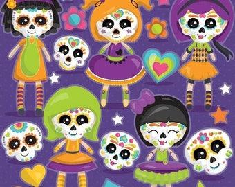 80% OFF SALE Halloween sugar skull dolls clipart commercial use,  clipart vector graphics, voodoo dolls digital clip art - CL1112