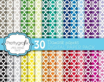 80% OFF SALE damask digital paper, commercial use, scrapbook papers, background  - PS567