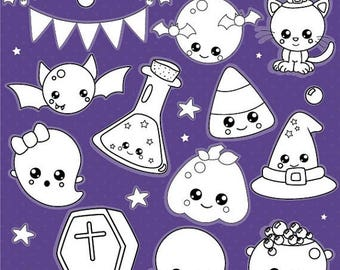80% OFF SALE Halloween kawaii digital stamp commercial use, vector graphics, digital stamp, digital images - DS1016