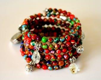 Sea sediment bracelet, beads bracelet, yoga bracelet, bracelet stack, multicolor bracelet, made in Quebec, made in Canada