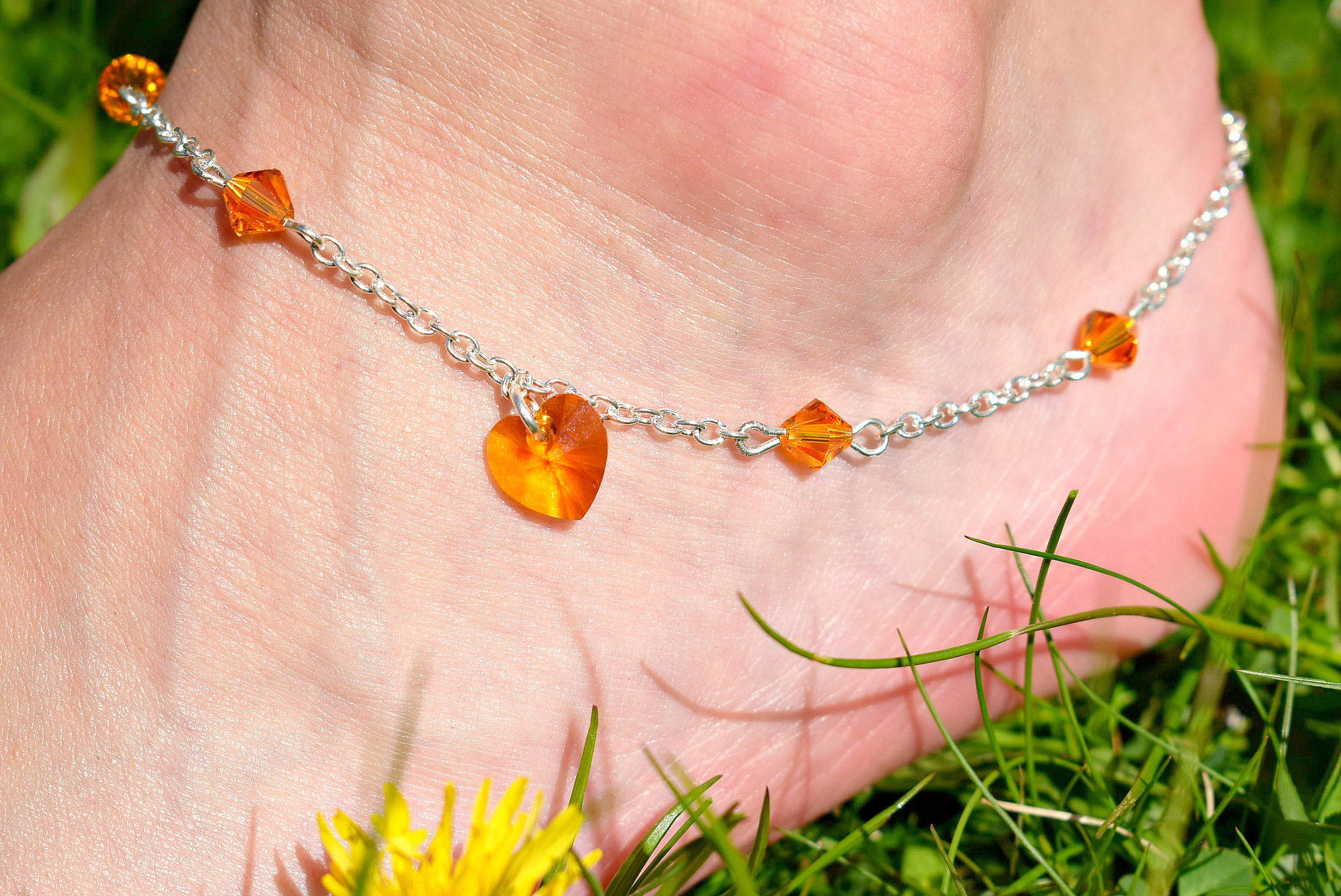 colored starfish glass coastal nautical sea gift bracelet ankle anklet seashore bracelets beach multi pin