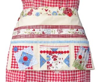 Waitress Apron, Craft Show Apron, Red and Blue, 7 Pockets