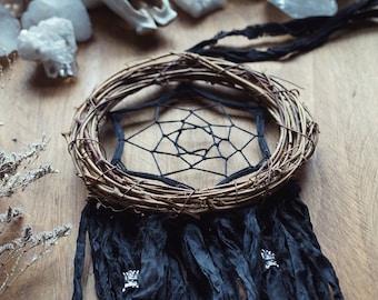 Black Dream Catcher - Goth Decor - Witch Decor - Black DreamCatcher - Black Wallhanging -