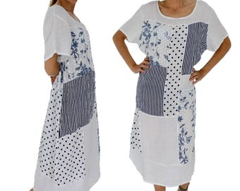 IA700W women's dress white patchwork linen long tunic vintage short sleeve oversize Gr. 44 46 48 50