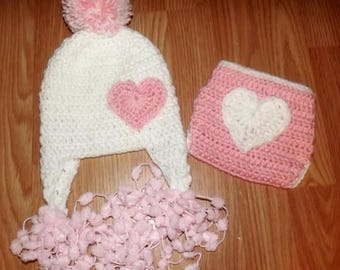 summer Baby size 3-6 earflap hat with pom-pom strings and diaper cover