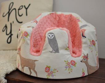 Forest Animals- Deer, Fox, Owl and Coral Minky Bumbo Cover