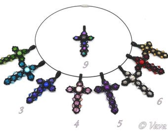 Necklace cross macrame - ref C. 0201