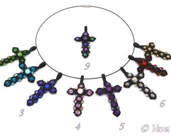 Necklace cross macrame - ref C. 0201