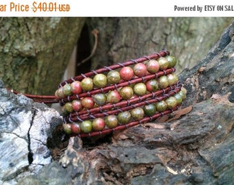 25% Off unakite leather wrap bracelet triple wrap earthy boho red brown leather celtic knot button