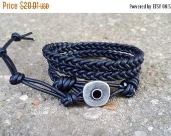 25% Off braided leather wrap bracelet 3x wrap triple wrap black leather boho bracelet hippie bracelet