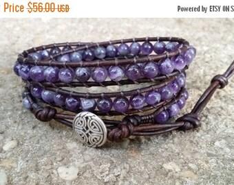 25% Off amethyst leather wrap bracelet triple wrap chakra bracelet celtic eternal knot button dark brown leather boho bracelet