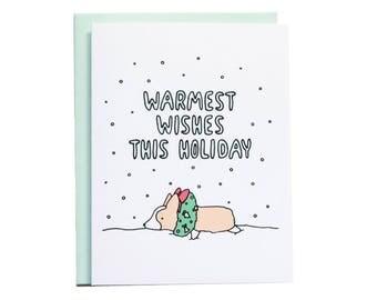 Warmest Wishes Holiday Card, Holiday Card, Corgi Holiday Card, Corgi Christmas, Holiday Card, Holiday Card, Christmas Card, Corgi Card