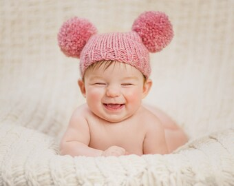 Knitted baby girl hat 3 6 9 months - pink rose quartz pom pom hat baby girl hat sitter photo prop hand knitted - baby shower gift - wool mix