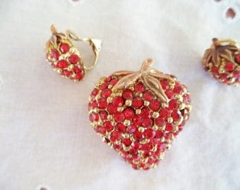 Red Rhinestone Strawberry Pin and Earrings