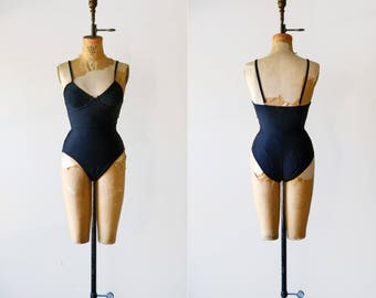 Manna Swimsuit / 1990s black minimal one piece / black swim suit