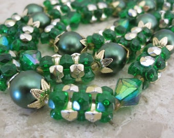 MULTI STRAND GREEN & Gold Bead Necklace