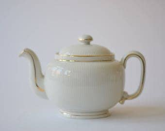 Arthur Percy for Gefle Sweden - TENERIFFA - Teapot - white with gold & vertical stripes - Scandinavian mid century tableware