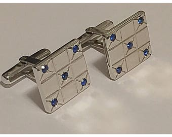 Hickok USA Silver Tone and Sapphire Rhinestone Cuff Links, Checkerboard or Dice Pattern Cuff Links, Designer Cuff links