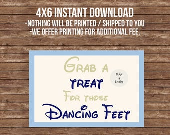 4x6 Grab a treat for those dancing feet, flip flops, Disney theme, wedding,  blue, gold, beauty and the beast, cinderella.