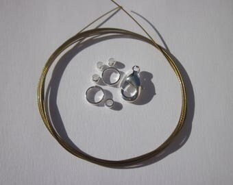 1 meter of cable wire-wrapped, ring, clasp, crimps (K15