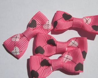 4 mixed colors 30mm approx - fabric bow (A61