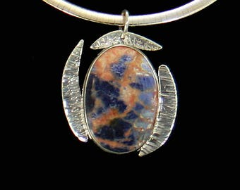 Sodalite Pendant Enhancer, Sterling Silver Pendant Silver Necklace, Sterling Silver Jewelry, Sodalite Gemstone Pendant Silver