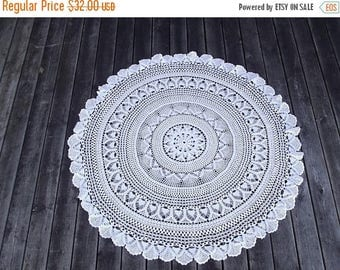 Summer sale -20% Round white tablecloth.Crochet tablecloth. Handmade tablecloth. Vintage 1970'.