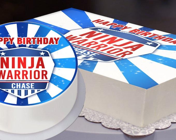 Ninja Warrior Party Edible Cake Topper File, Ninja Warrior Birthday, Ninja Warrior Party -  Digital Bakery File