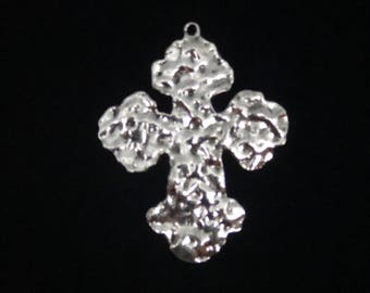 Large Silver Hammered Cross Charms, Large silver cross charm,  3 Pieces 56x46mm Antique Silver Finish, rustic silver cross charms, 15-4-S