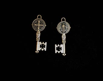 Saint Benedict Key Charm Pendant, San Benito Key Charm, Copper San Benito Key charms, 6 pieces 53x20mm Antique Copper Finish, 23-9-C
