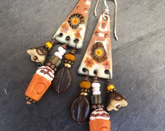 Iced Mocha Earrings, Coffee Earrings, Enameled Copper Earrings, Treasure Earrings, Gypsy Earrings, Mocha, Frappe, Latte, Coffee