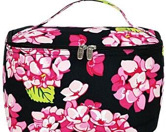 Monogram Makeup Bag | Monogram Cosmetic Bag | Toiletry Bag | Personalized Make Up Bag |Travel Bag | Small Carolina Hydrangea Black Trim