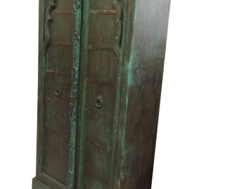 Antique Mehrab Style Wood Armoire Green Cabinet Storage Moroccan Mediterranean Decor Shabby Chic