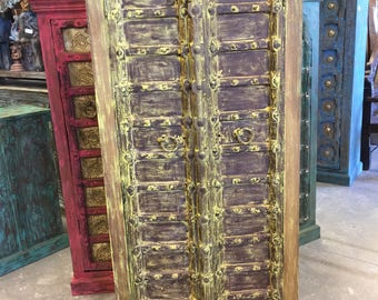 Antique jAIPUR Cabinet, Teak Doors, India Furniture, Yellow Patina Rustic Almirah, Iron Strips Texas Ranch Decor