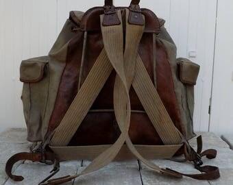 Lafuma rucksack vintage Lafuma backpack leather backed rucksack sac a dos vintage travel bag military rucksack French Lafuma walkers gift