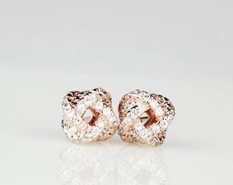 Rose Gold Knot Earrings Bridesmaid Gift Bridal Jewelry Diamond Earrings SECK