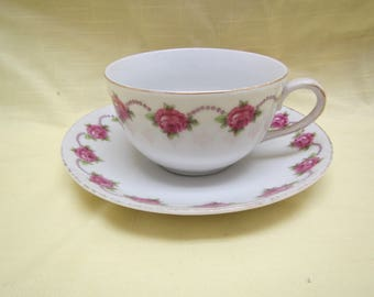 White with Roses Tea Cup and Saucer  ,  Germany ( C-22 )
